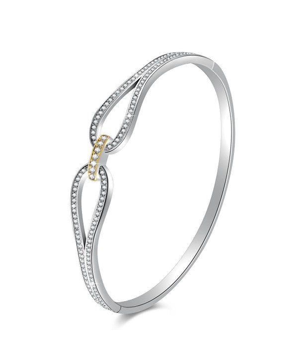 Angelady Infinity Bracelet Zirconia Jewelry - White Gold Plated+18K Gold Plated - CZ187NSE98K