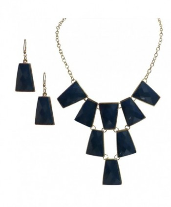 Gold Tone Layered Blue Unique Necklace Earring Necklace Earring Jewelry Set for Women - CI11N5NIVYX