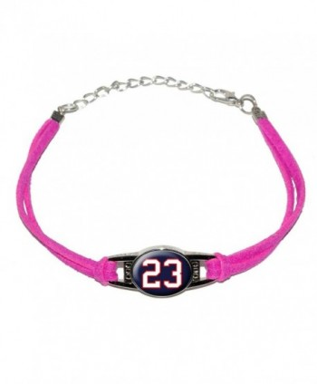 Graphics and More Number 23 on Dark Navy Blue - Novelty Suede Leather Metal Bracelet - Pink - C112K3N8DKT