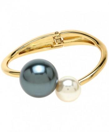 Lova Jewelry Ivory Peacock Pearl Gold Tone Glam Hinge Metal Bangle Bracelet - C612NYYJI2D