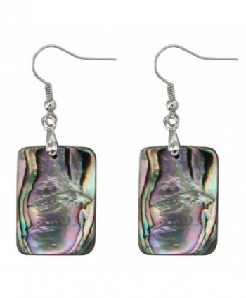 Natural Double-faced Abalone Shell Rectangle Drop Dangle Hook Earrings Jewelry for Women - CL182Z2YDTH
