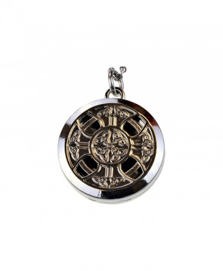 Celtic Cross Shiny Aromatherapy Essential Oil Diffuser Necklace Locket Pendant Jewelry - CY115J73L9N