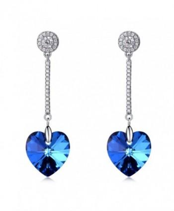 LadyRosian Sterling Silver Dangle Earrings - Blue - CS12NT0X4XO