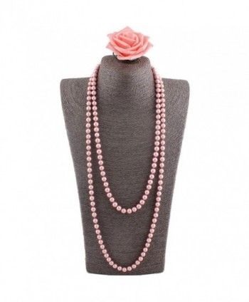 "Grace Jun Luxury Fashion Glass Simulated Pearl for Women Party Handmade Long Pearl Necklace 55"" - Pink - CO182HD4KM3"