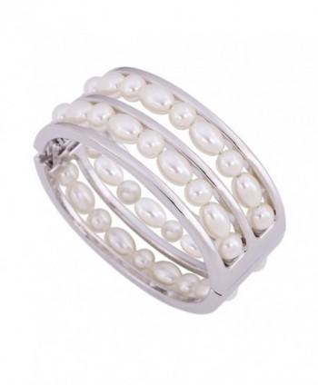 KAYMEN Women's Glossy Metal With White Imitation Pearls Statement Bangle & Girl's Bracelet - C1120OZZHHX