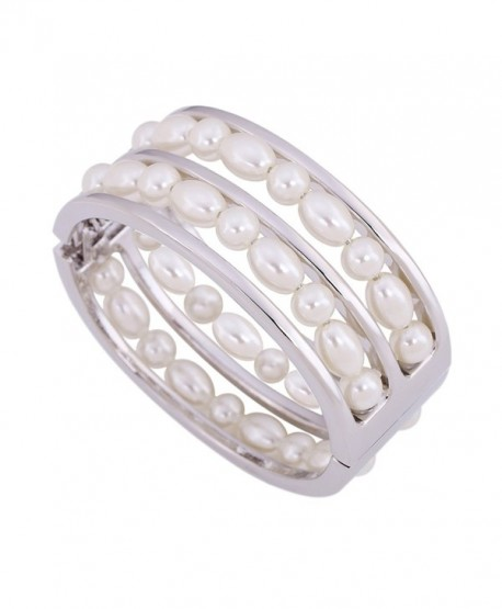 KAYMEN Women's Glossy Metal With White Imitation Pearls Statement Bangle & Girl's Bracelet - C1120OZZHHX