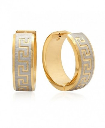 1/2 Inch Stainless Steel Yellow Gold Plated Greek Key Hoop Earrings - CS116K5YI59