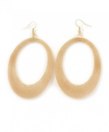 Large Gold Tone Mesh Oval Hoop Earrings - 90mm L - C4128F2YRZF