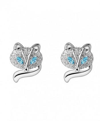 RARITYUS FashionSwarovski Austrian Crystal Earrings Studs Blue Eye Silver Lovely Fox Jewelry - blue - CZ185RKGCHC