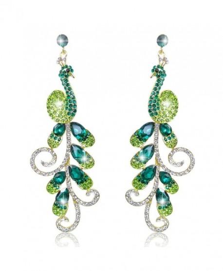EVER FAITH 4 Inch Peacock Teardrop Dangle Earrings Austrian Crystal - Gold-Tone Green - CA11I7ZRLYF