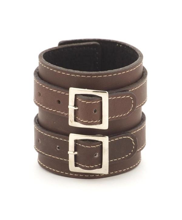 81stgeneration Women's Men's Genuine Leather Brown 70 mm Adjustable Punk Rock Cuff Bracelet - CG116AT11DL