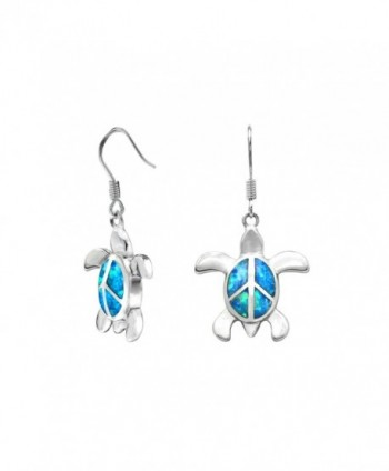 Sterling Silver Turtle Peace Sign Hook Earrings with Simulated Blue Opal - CI11LD698B9
