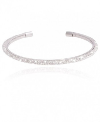 Metal Fish Net Inside Cubic Zirconia With Silver Rhodium Plated Cuff Bracelet - CU187ZTS37M