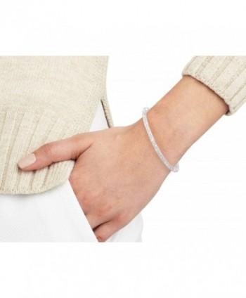 Inside Zirconia Silver Rhodium Bracelet in Women's Cuff Bracelets