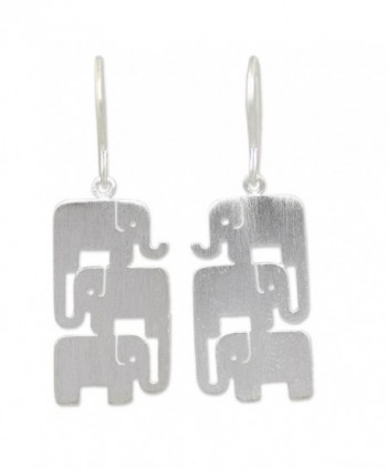 NOVICA .925 Sterling Silver Dangle Hook Earrings- 'Elephant Stack' - CH114IRYD3X