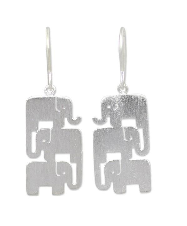 NOVICA .925 Sterling Silver Dangle Hook Earrings- 'Elephant Stack' - CH114IRYD3X