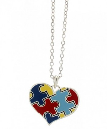 Autism Puzzle Piece Heart Pendant Necklace - CF115WNR3KR