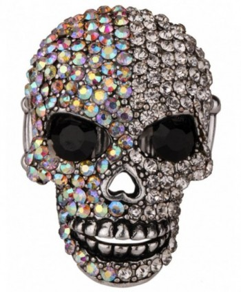 Angel Jewelry Women's Crystal Bling Skull Biker Pin Brooch - silver AB - C412O6729EI