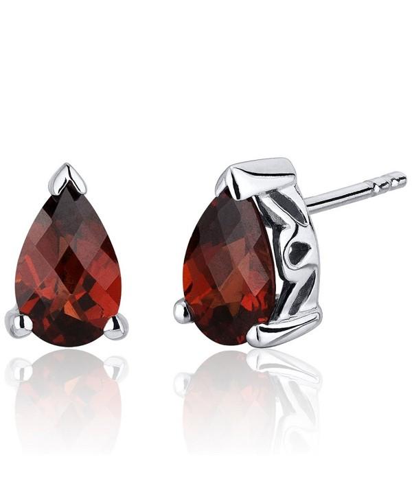 2.00 Carats Garnet Pear Shape Basket Style Stud Earrings in Sterling Silver Rhodium Nickel Finish - CX116ULJO25