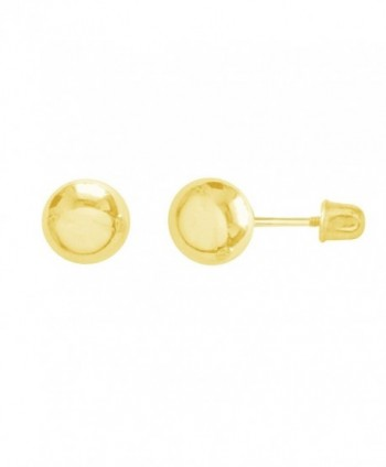 14k Yellow Gold Ball Stud Post Earrings 3-4-5-6-7mm with Screw Backs - C811G9IDWUT