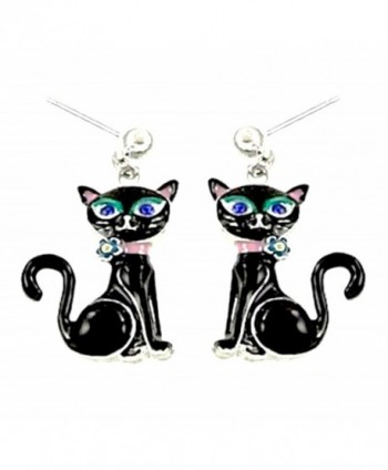 DianaL Boutique Black Kitty Cat Earrings Post Enameled Gift Boxed Fashion Jewelry for Girls and Women - CA11SG8H9R7