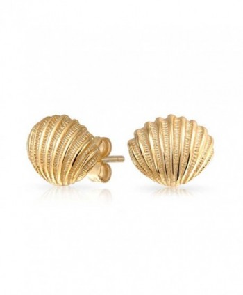 Bling Jewelry Nautical Seashell Stud earrings Gold Plated 9mm - CQ12K5GWVL1
