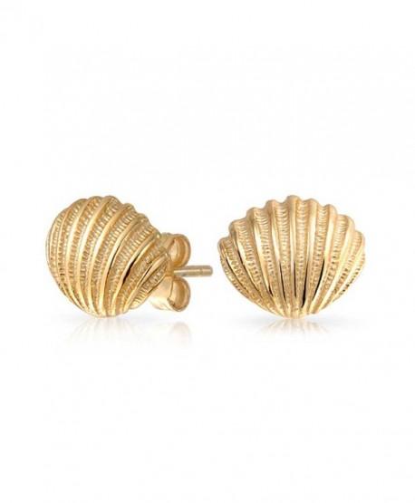 Bling Jewelry Nautical Seashell Stud earrings Gold Plated 9mm - CQ12K5GWVL1