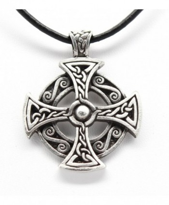 Pewter Solar Cross Celtic Druid Pagan Irish Pendant on Leather Necklace - C711G2JO0ZB