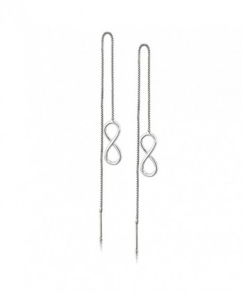 Rhodium Plated 925 Sterling Silver Open Infinity Threader Long Dangle Earrings- Thin Bar Backing - CH17Z2GHI4D