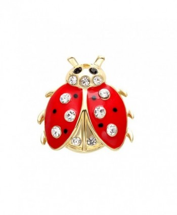 SENFAI Fashion 2 Colors Jewelry Insects Ladybug Crystal Brooches Bouquet Coccinella Septempunctata Lapel Pin - C212B7KDZFZ
