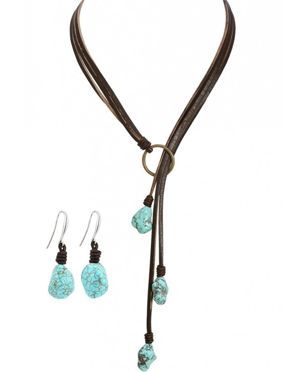 Bohemian Reconstituted Turquoise Necklace and Earrings Jewelry Sets Handmade Bohemian Jewelry for Women Girls - C412O3V3NKJ