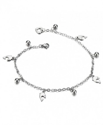 Stainless Steel Anklet Bracelet with Dangling Charms of Dolphins and Beads - CS12KB1B143
