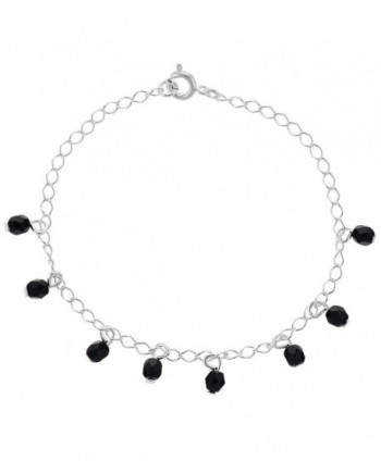 "Silver Plated Simulated Azabache Jet Black Charm Link Thin Bracelet 7"" - CZ12C9NFWZZ"