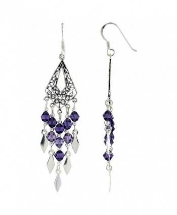Sterling Silver Triangular Chandelier Dangle Earrings Purple Crystals- 2 3/8 inches long - C6111Z5ND6J