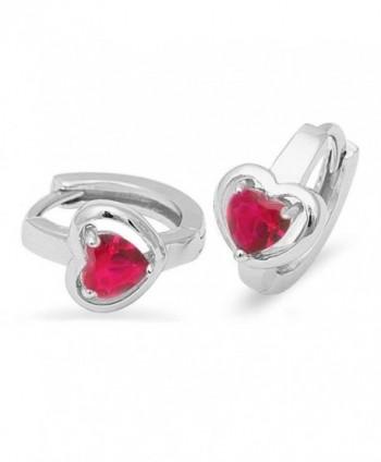 Ruby Heart Hoop .925 Sterling Silver Earrings - C711ODQNORF