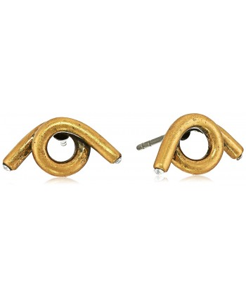"Marc Jacobs ""Fall 2016"" Twisted Single Wrap Antique Stud Earrings - Antique Gold - CK12ITEM873"