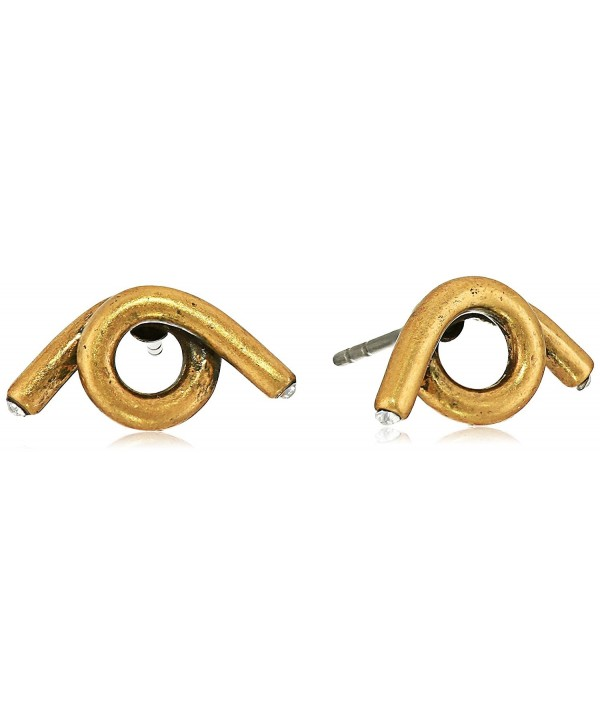 """Marc Jacobs """"Fall 2016"""" Twisted Single Wrap Antique Stud Earrings - Antique Gold - CK12ITEM873"""