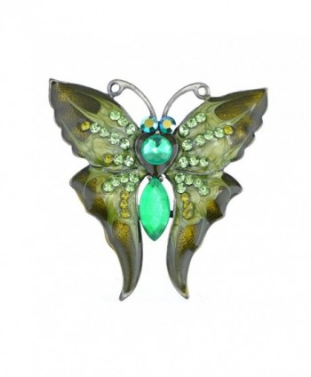 Alilang Womens Antique Silvery Tone Green Rhinestones Vintage Butterfly Brooch Pin - CX113T2CWZT