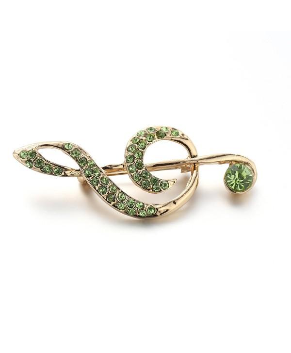 Animals Music Shape Christmas Crystal Corsage Brooch Pin Treble Clef - Green - CV188KMMQI5