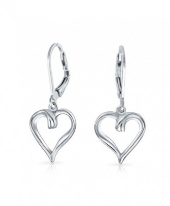 Bling Jewelry Open Heart Dangle Sterling Silver Leverback Earrings - CV11ETT5MJT