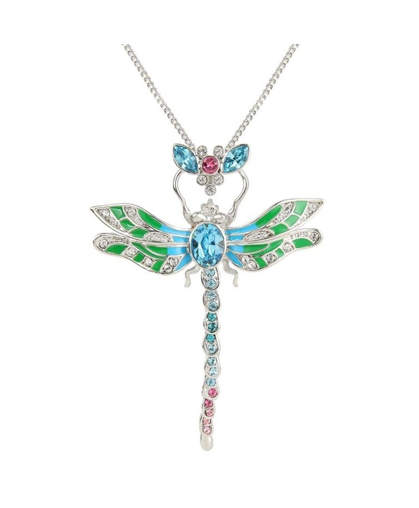 EleQueen Women's Silver-tone Enamel Dragonfly Pendant Necklace Adorned with Austrian Crystal - Blue - CC11TK1XQNZ