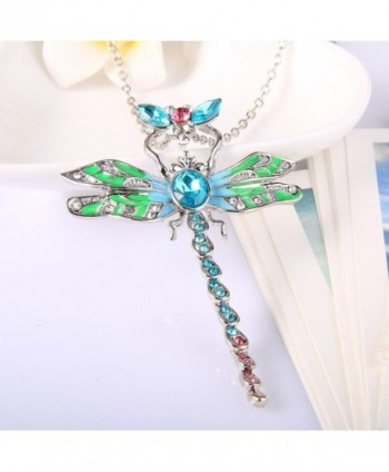 EleQueen Silver tone Dragonfly Necklace Austrian