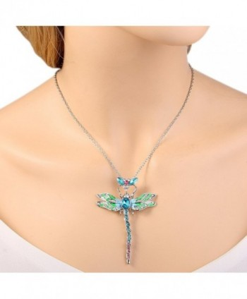 EleQueen Silver tone Dragonfly Necklace Austrian in Women's Jewelry Sets
