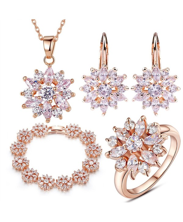 BAMOER Women Ladies Jewelry Set Rose Gold Plated Finger Ring Pendants Necklace Stud Earring Charms Bracelet - C111TNITH9H