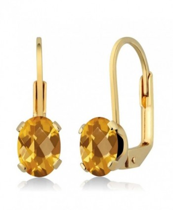 1.40 Ct Oval Checkerboard Yellow Citrine Gold Plated 4-prong Leverback Earrings - CS1179R10MB