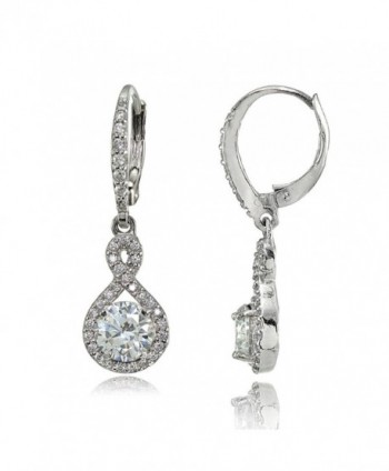 Sterling Silver Cubic Zirconia Infinity Dangle Leverback Earrings - Clear CZ - Sterling Silver - CZ185IR4SWX