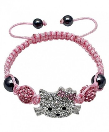 Hellokitty alloy friendship bracelet with CZ Clear crystals - Pink - CQ17YGO6OKE