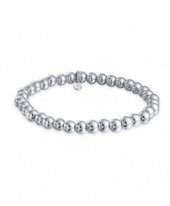 Bling Jewelry Sterling Silver 6mm Bead Stretch Bracelet Stackable 7.5 Inch - CW11IKYBMCZ