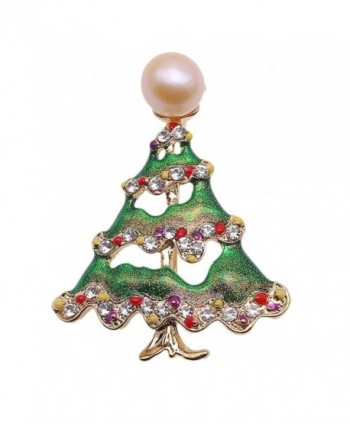 JYX Pearl Brooch Christmas Tree-style 10mm Pink Freshwater Cultured Brooch Pin Christmas - C7188ZIU2EG