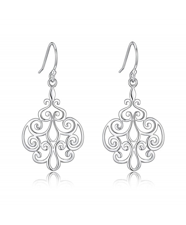 Sterling Silver Filigree Dangle Drop Earrings For Sensitive Ears By Renaissance Jewelry - CR17WYW2L2N